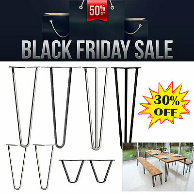 """4 x Hairpin Metal table coffee cabinet bench legs, 4"""" - 28"""", steel retro style"""