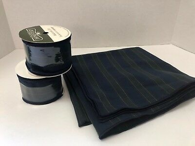 """Longaberger Collectors Club Strip 36"""" Fabric Square & 2 Rolls of 9' Wire Ribbon"""