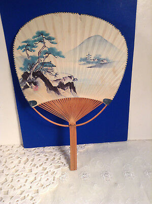 Japan Vintage 1950's Painted Paper Bamboo Uchiwa Fan