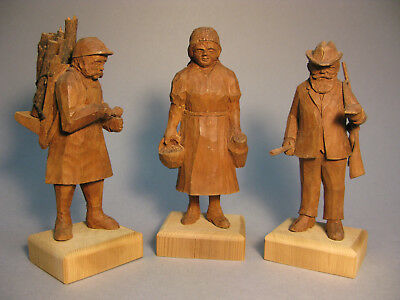 Black Forest Three Antique Hand Carved Figures