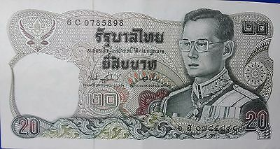 Old Thailand Banknote Authentic 20 Baht King Rama The 9th New Unused