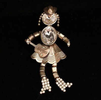 Vintage Silver Tone Clear Rhinestone Cowgirl Woman with Guitar Huge Brooch Pin