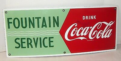 Vintage 1950's Coca-Cola Fountain Service Porcelain Sign
