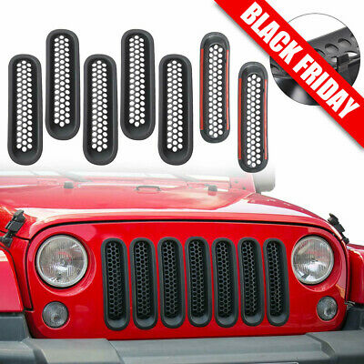 1c9c446f Upgrade Clip-on Grille Front Mesh Grille Inserts for Jeep JK Wrangler 2007 -2015