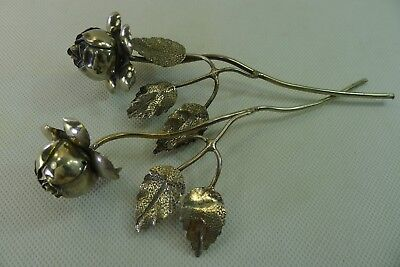 Rare handmade 65.5 grams Sterling Silver Flowers Height 17.6 cm. and 18 cm.