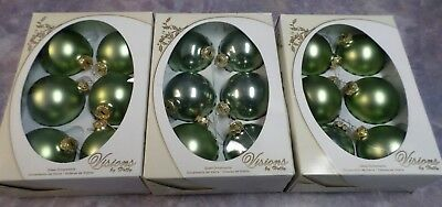 Lot Vintage Visions By Holly Green Glass Ornaments 3 Boxes of 6 American Made