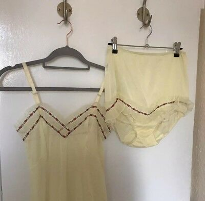 Vintage Nightgown Slip Sheer Tulle Bloomer Set Size 8 10 34 Yellow Floral Trim