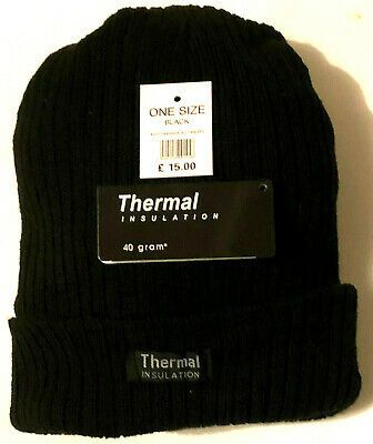 New Mens Thermal Thinsulate Fleece Lined Beanie Ski Hat  Mens winter hat   BLACK