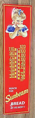 """Sunbeam Bread Red Blue & Yellow Metal 28 1/4"""" Tall General Store Adv Thermometer"""