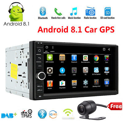 """Bluetooth Car Stereo Radio Android 8.1 2 DIN 7"""" MP5 Player GPS Wifi +Rear Camera"""