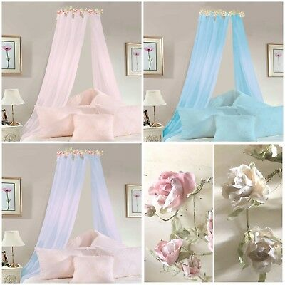 Flower Garland Arc BED CANOPY Coronet Crown PINK LILAC BLUE  Corona COMPLETE Set