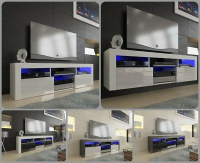 NEW 2018! Superb TV Stand Unit Cabinet 160cm + Floating/Standing + Gloss + LED