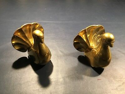 Vintage Brass Dove Bookends