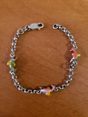 Vintage Sterling Silver Multicolored Enamel Puffy Dolphins Bracelet Baby Child