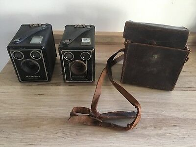 2 x Kodak Brownie SIX-20 Model C And D cameras, with One Carry Bag With Strap