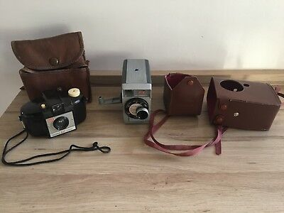 VINTAGE KODAK BROWNIE 127 Camera With Bag And BROWNIE MOVIE CAMERA F/2.7 +bag **