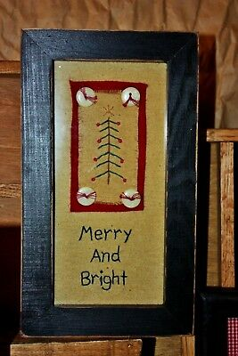 "Primitives By Kathy ""Merry & Bright""~Christmas Tree~Framed Glass Stitchery~NEW"