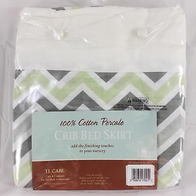 Crib Bed Skirt 100% Cotton Percale Fits Standard Size Cribs