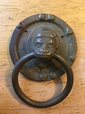 Great Vintage Brass Monkey Head Drawer Pull Hardware 1870s Drawer Man Face Heavy