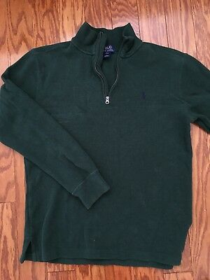 EUC RALPH LAUREN boys quarter zip LS dark green 14-16