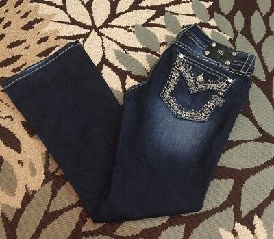 Miss me New Bootcut Signature Rise Size 32x30 Bling Back Pockets Faded Distress