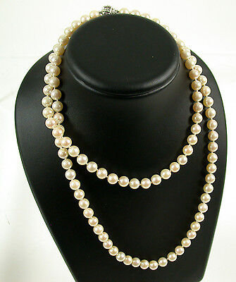 Kette Collier Perlen Pearl Necklace White Weiß-Gold 585 Diamant 0,5ct /5