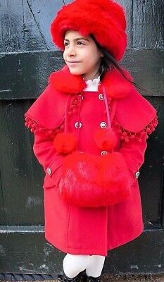 2894c972bba BABY GIRLS SMART Red Monsoon Coat With Detachable Faux Fur Collar 3 ...
