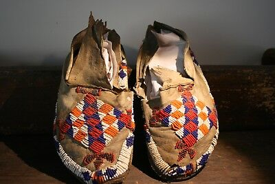 Early Beaded Moccasins Native American Antique Primitive Indian Folk Art Old