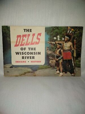 The Dells of the Wisconsin River Brochure Vintage 1954 Indians History in Color