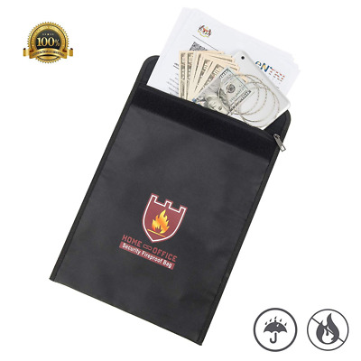 Fireproof Document Bag Silicone Coated Money Safe Storage for Documents NEW US