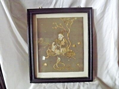 Vintage Indonesian Silk Embroidery Picture of a Snake Charmer