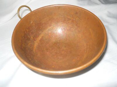 Vintage Round Bottom Rolled Lip Copper Mixing Bowl with Brass Ring