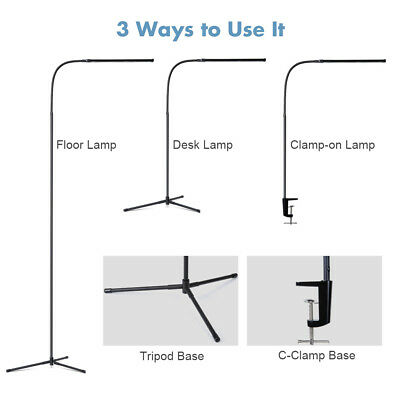 Dimmable 3-In-1 Ultra Slim LED Floor Lamp Gooseneck Desk Lamp Clamp-On Lamp US