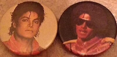 Collection Of 2  vintage Young Michael Jackson Picture button Pin Back