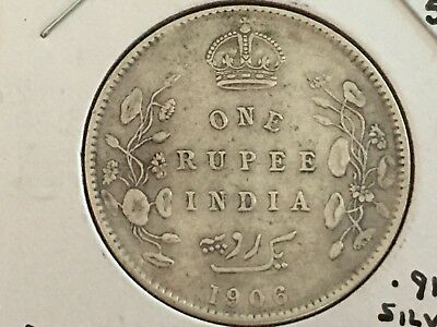 1906 India 1 Rupee Coin Km508 Very Fine