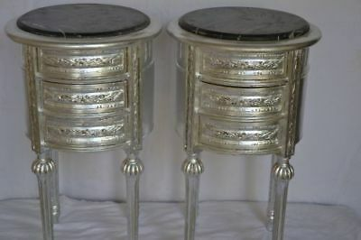 Pair Of Silver Nightstands With Black Marbre Baroque Style Bedside Cabinet
