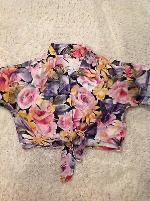 80s Vintage Retro Floral Pink/Yellow Crop/Tie Blouse Top Size Small/8
