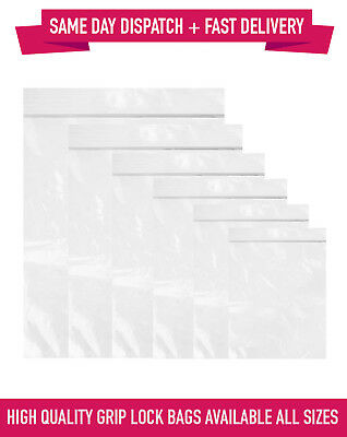 Grip Seal Bags Self Resealable Clear Zip Lock Polythene Bags - All Sizes