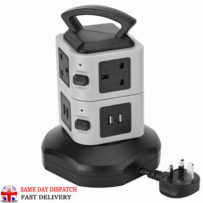 Extension Lead Cable Protected Tower Stand Power Socket with 4 USB Port UK Plug