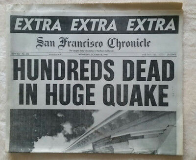 HUNDREDS DEAD IN HUGE QUAKE-EXTRA..EXTRA..EXTRA (S.F. Chronicle 10-18-1989) NEW!