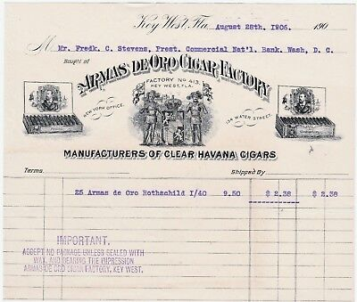 RARE Advertising Billhead - Armas de Oro Cigar Factory 1906 Key West FL Tobacco