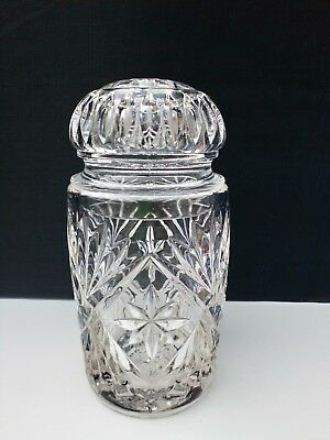 Vintage 60's Thick Heavy Clear Pressed Glass Barrel or Jar with Lid