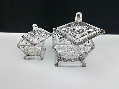 2x Vintage 60's Thick  Heavy Clear Pressed Glass, Display Caddy Dish Trinket box