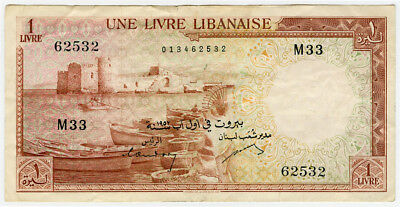 LEBANON 1952 ISSUE 1 LIVRE BANKNOTE CRISP CHOICE VF-XF.PICK#55a.