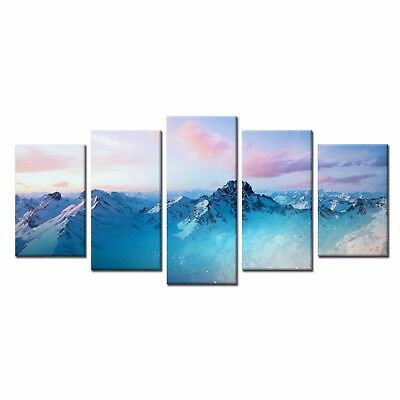 5pcs HD Canvas Prints Snow Mountain Poster Painting Home Wall Decor Art No Frame