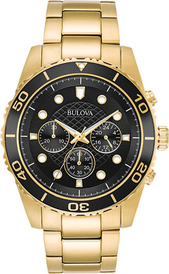 Bulova Mens 98A173 Quartz Marine Star Chronograph Black Dial Bracelet 43mm Watch