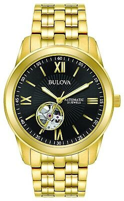 Bulova Men's 97A132 Automatic Open Heart Black Dial GoldTone Bracelet 42mm Watch