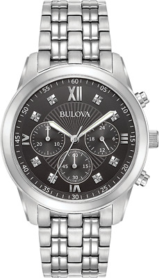Bulova Mens 96D136 Quartz Black Dial Chronograph Silver-Tone Bracelet 40mm Watch