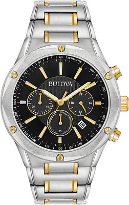 Bulova Men's 98B285 Quartz Marine Star Chronograph Black Dial 43mm Watch