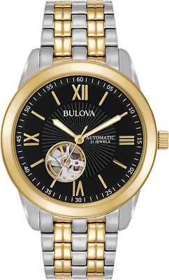 Bulova Men's Automatic 98A168 Open Heart Black Dial Two Tone Bracelet 42mm Watch